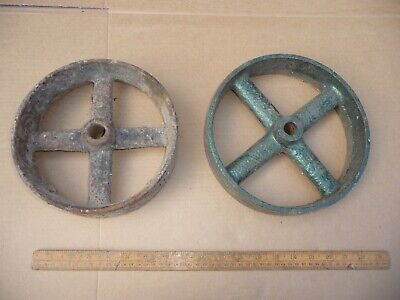2 Antique Cast Iron Wheels - Suit Shepherds Hut etc .Not Pair.8.5 in. + 9 in.
