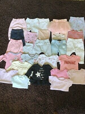 Large Bundle Of Baby Girl Clothes Tops Leggings Vests 3-6 Months 26 Items
