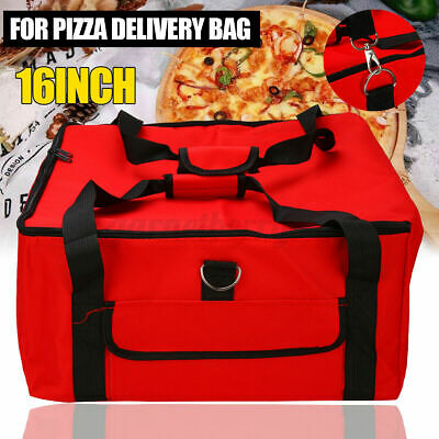 """16"""" Pizza Delivery Bag Red Insulated Thermal Food Storage Holder Pizza Outdoor"""