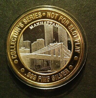 TRUMP PLAZA MANHATTAN BROOKLYN BRIDGE WTC $10 .999 Silver Strike Gaming Token