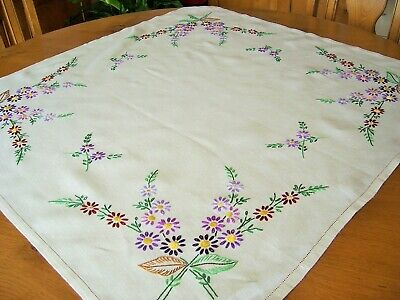 Vintage Hand Embroidered Linen Tablecloth - Charming