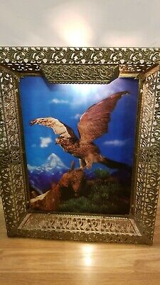 Vintage Beautiful Hawk With Wing Spread Lighted Hologram Metal Frame Picture