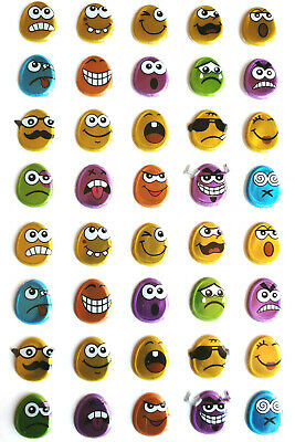 Emoji Faces shiny puff Stickers. 40 pcs