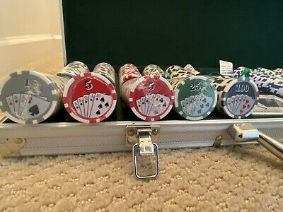 500 Royal Flush Poker Chip Set 11.5 Cards Game With Aluminum Case & Dices
