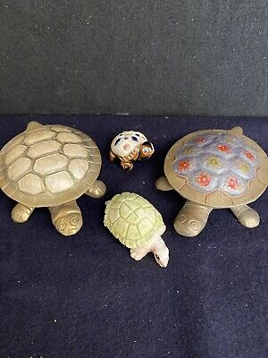 Collection Of 4 Ornamental Tortoise 2 Brass With Hinged Lids
