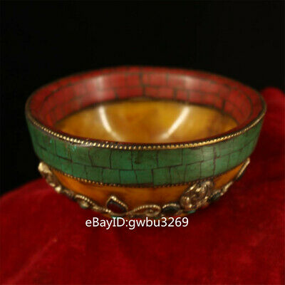 Collection Chinese Tibetan beeswax handwork inlaid turquoise Ghee bowl