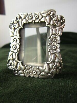silver picture frame miniature chinese export solid silver 19thc. free standing
