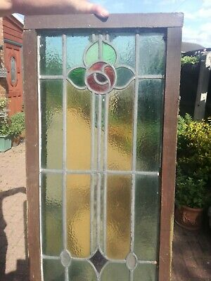 2 Antique Leaded light stained glass window panels