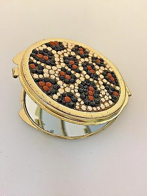 Fashion Gold Tone Leopard Double Mirror Compact