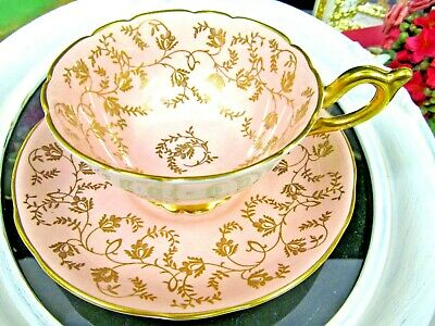 COALPORT tea cup and saucer pink & gold gilt pattern teacup chintz England