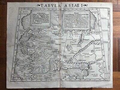 Tabula Asiae I, 1542 by Munster, Turkey Black Sea Constantinople antique map