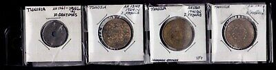 TUNISIA Lot of 4 Coins