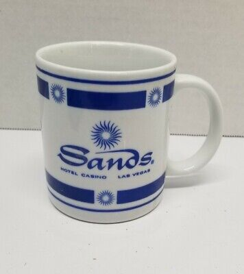 Vintage Sands Hotel And Casino White And Blue Coffee Mug