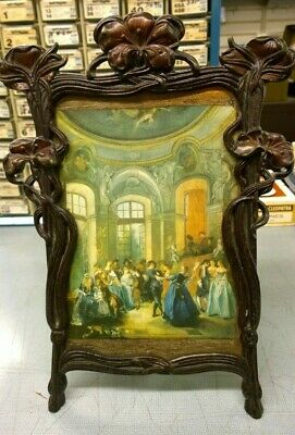 Ornate Antique Cast Iron Free Standing Picture Frame #236 with Old Picture