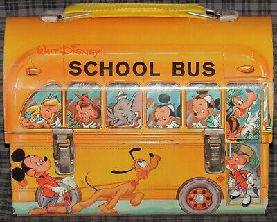 1960s WALT DISNEY SCHOOL BUS METAL DOME TOP LUNCH BOX, ORANGE