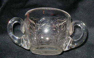 Vintage Cut Glass Sugar Bowl, Flower Design, Nice Quality, Applied Handles