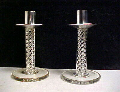 Pair (2) of Art Deco Glass w Swirl Design & Silver Candle Holders - S.F.Estate