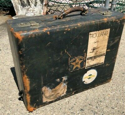 Vintage 1930's Leather Suitcase with White Star Line Stickers