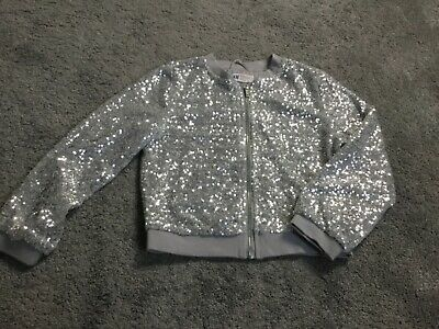 Girl's H&M Silver Sequin cardigan bomber jacket party 11 12-13 Eur 158 Great con