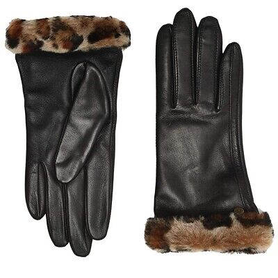New Nwt Womens Medium Black Leopard Ugg Classic Leather Shorty Tech Gloves