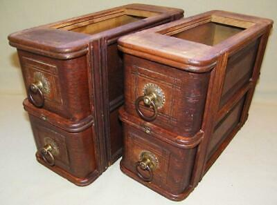 4 Antique Oak Sewing Machine Drawers w/Frames Brass Pulls Vintage