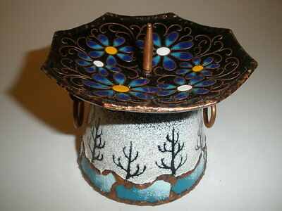 Candle Stick Holder Enamel On Copper Floral