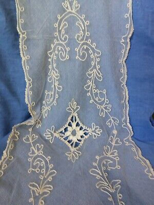 Antique French Net Tambour Lace Table Runner Dresser Topper.  14 x 44