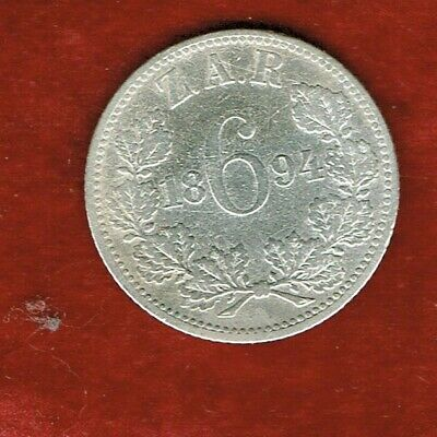 Rep.south Africa   Zar  1894 Silver Six Pence  ...Mintage 3,005,000
