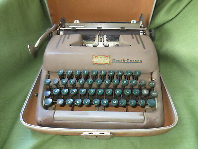 Smith Corona Silent 5S Manual Portable Typewriter with Case Good Condition