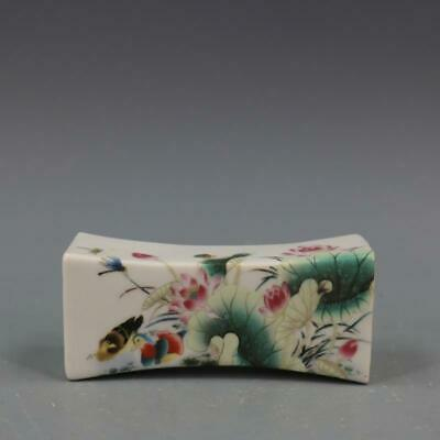 Qianlong Years Collect China Ancient Color Porcelain Painting Lotus Royal Pillow
