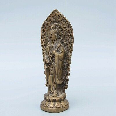 Qianlong Years Collect Old Bronze Hand-Carved Kwan-Yin Delicate Buddhism Statue
