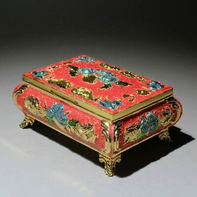 Collectable Chinese Old Cloisonne Handwork Carved Flower Royal Noble Jewelry Box
