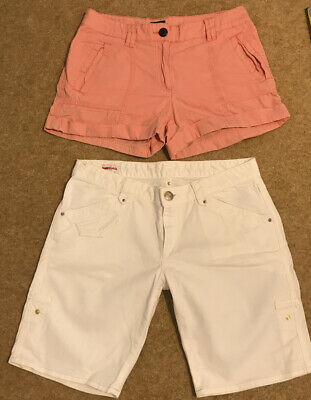 Ladies Girls Gas White Denim Shorts Pink H&M Size S 8-10