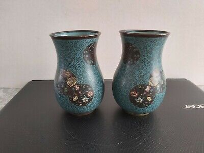 Nice Pair Of Antique Japanese Cloisonne Vases