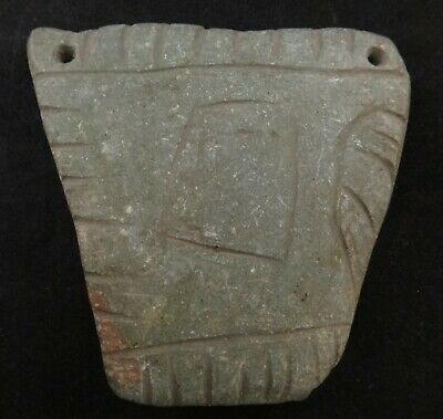 Ancient Pre-Columbian Carved Green Stone Pendant (?) w/Drilled holes & Carvings.