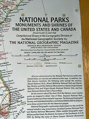 1958 Map National Geographic National Parks Monuments and Shrines