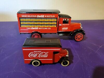 Vintage Coca-Cola metal bank and small coke truck.