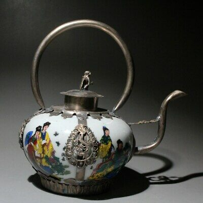 Collect China Enamel Porcelain Painting Ancient Miao Silver Carve Monkey Teapot