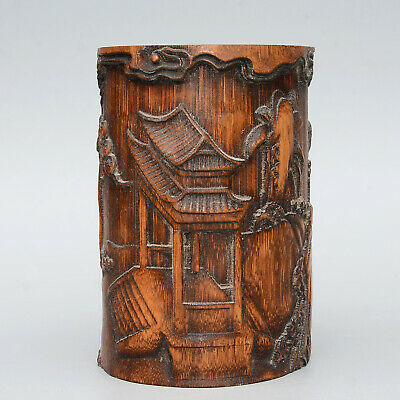 AAA Collectable Chinese Old Bamboo Hand-Carved Scenery Delicate Unique Brush Pot