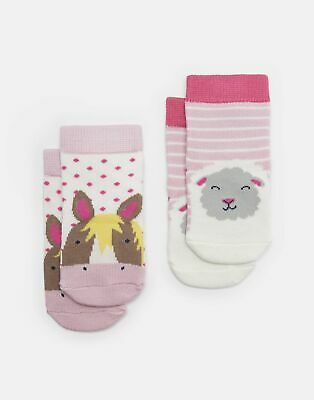 Joules Baby Girls Neat Feet   Two Pack Character Socks -  Size 6m-12m