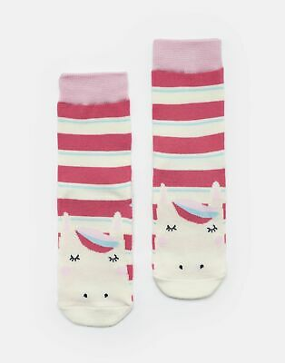 Joules Girls Neat Feet Character Socks - BRIGHT PINK STRIPE HORSE Size Size 13-3