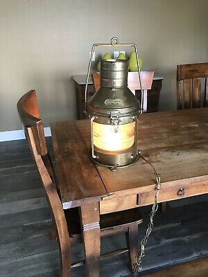 Authentic Vintage Large Nautical ANCHOR Brass Ship Lantern With Light Wired