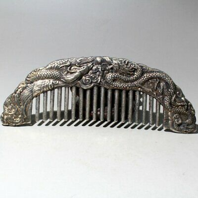 China Collectable Miao Silver Handwork Carve Myth Dragon & Phoenix Noble Comb