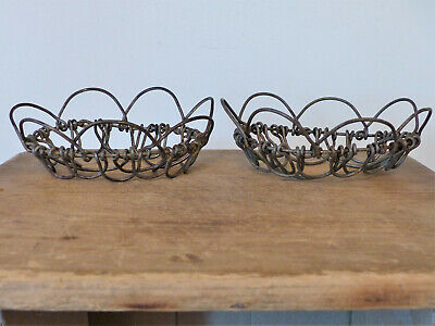 2 Antique VICTORIAN WIRE Folding BASKET Trivet FLOWER FROG Soap Dish FARMHOUSE