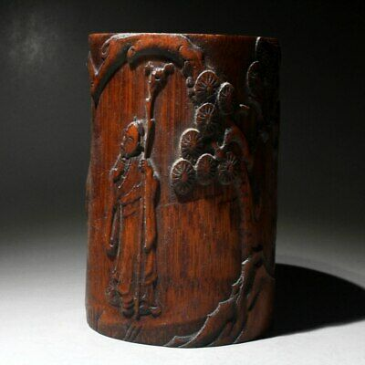 Collectable China Rare Boxwood Hand-Carved Tree Horse Old Men Delicate Brush Pot
