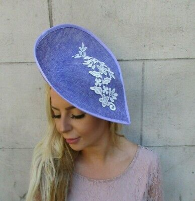 Lavender Light Purple White Lace Large Teardrop Fascinator Hat Lilac Hair 0408