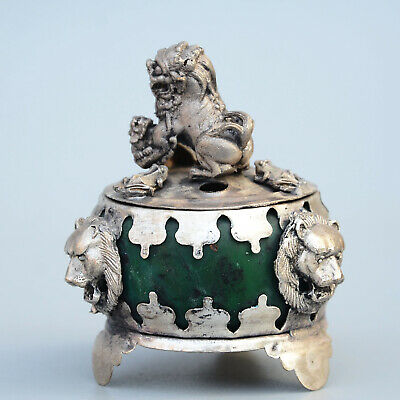 AAA Collectable China Old Miao Silver Hand-Carved Lion Auspicious Incense Burner