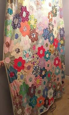 Vintage French Patchwork Quilt 75 inches x 55 inches