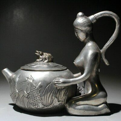 Collectable Old Miao Silver Handwork Carve Beauty Flowers Delicate Noble Teapot