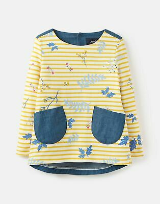 Joules Girls Ria Jersey Woven Mix Top  - YELLOW STRIPE SPRIG Size 2yr